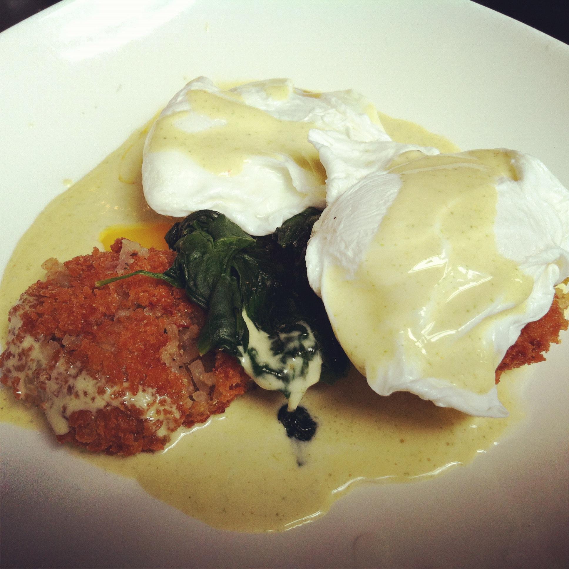 Crawfish benedict! 2 poached eggs, crawfish, artichoke hash spinach ...