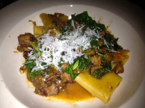 Emporio's pastas--like this oxtail and kale special--arrive al dente and always leave us satisfied.