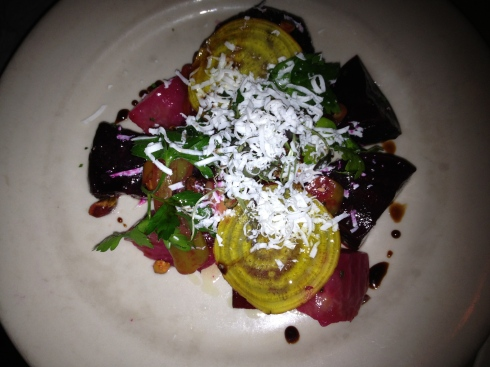 Wood-roasted beets are elevated with pistachios, aged ricotta, and the kicker--house-pickled hot peppers. This is one of the most unusual, impressive beet salads we've had the opportunity to taste.