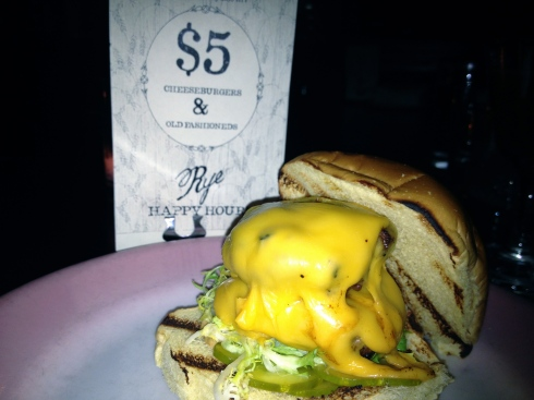 The cheeseburger at Rye is not only delectable, it's also a serious bargain.